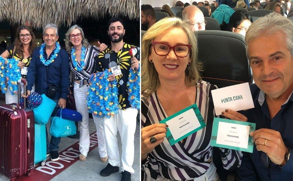 Empresária, acompanhada do marido Luiz Leme, desfruta viagem