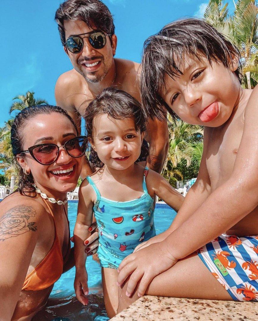 Fabio Martins e Regina, sempre que podem, curtem com a família ao ar livre no Parque Verde